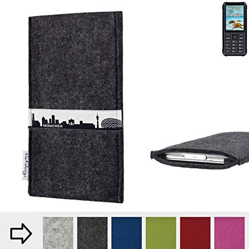 flat.design für Energizer H20 Schutzhülle Handy Tasche Skyline mit Webband München - Maßanfertigung der Schutztasche Handy Hülle aus 100% Wollfilz (anthrazit) für Energizer H20