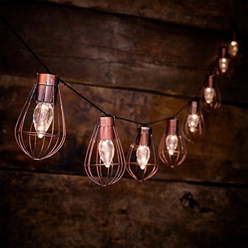 globrite Rustikal Metall Lichterkette–10x Aufhängen Ballon Käfig Laternen–Warm Weiß LEDs, solarbetrieben,–2,8m
