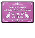 Hochwertige Fußmatte - Bitte erst beim Personal anmelden... die Katze Geschenk Katzenbesitzer-in Katzenhalter-in
