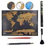 Carte du monde à gratter XXL,Osup Carte du monde a gratter | Scrape off World Map – Souvenirs de voyages pour les globetrotters (Noir | 82 x 60 cm)