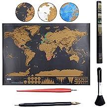 Mapa Mundi Rascar Osup Pster de mapa del mundo para rascar con paquete de herramientas el regalo perfecto para viajeros 825 x 594cm