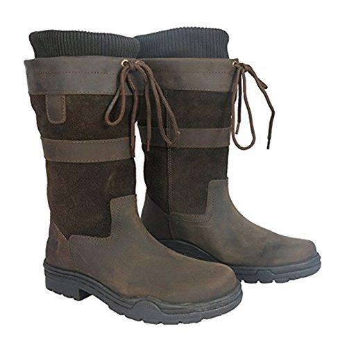 Hkm - Stivali di cuoio corti 3/4 da campagna per adulti con suola impermeabile utilizzabili anche per equitazione, misura: 36-44 (3-10 UK) Marrone - marrone