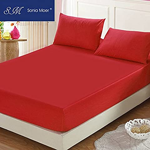 Premium Polycotton 200 Thread Count Fitted Sheet by Sonia Moer, (Double, Red)