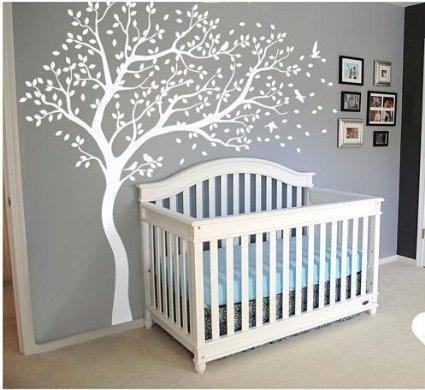 White Blossom Baum Wand Aufkleber mit Flying Birds für Kid Kinderzimmer Schlafzimmer Baby Dusche Wand Decor