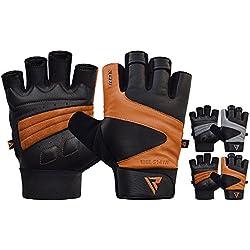 RDX Guanti Palestra Pelle Fitness Crossfit Sollevamento Pesi Allenamento Workout Antisudore Bodybuilding Antiscivolo Polso Imbottiti Powerlifting Gym Gloves