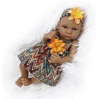 Nicery rinascere bambino Bambola indiano Pelle nera 10 pollici 26 cm rigido Simulazione Silicone Vinile Impermeabile Ragazzo Ragazza Giocattolo Orange Girl - Pelle Open Face