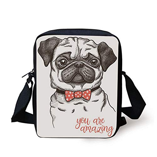 Pug,Portrait of Dog Cartoon Style Bow Tie on a Pug Pet Fun Comedic Image Fashionable Animal,Black Red Print Kids Crossbody Messenger Bag Purse
