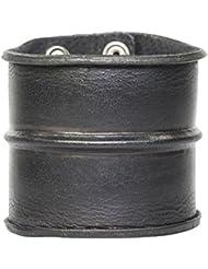 Bracelet de Force Extra-Large en Cuir Noir pour Homme 75mm.