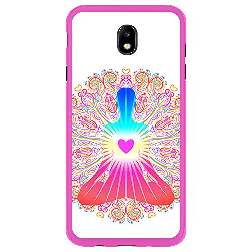 BJJ SHOP Rosa Hülle für [ Samsung Galaxy J5 2017 ], Klar Flexible Silikonhülle, Design: Chakra Kunst, Buddhismus, innerer Frieden