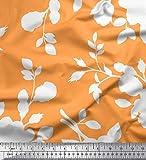 Soimoi Orange Viskose Chiffon Stoff Blätter & Blumen