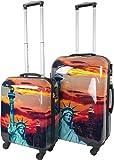 normani 2 teiliges ABS Hartschalen Koffer Set mit Teleskopgriff und Zahlenschloss Farbe Statue Of Liberty