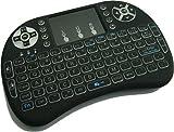 Quanmin I8 2,4 GHz Wireless Backlit Touchpad Mini Tastatur mit Maus Für PC Pad Xbox 360 Ps3 Google Android TV-Box HTPC IPTV (Schwarz)