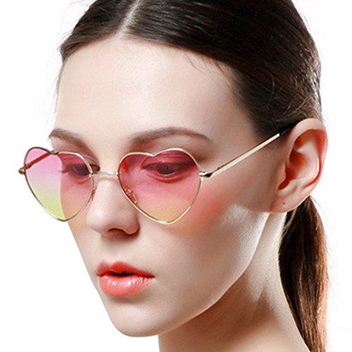 Onnea Herz Sonnenbrille Metall Rahmen Pack für Kinder Damen Sommer (3 Packs rot rosa blau)