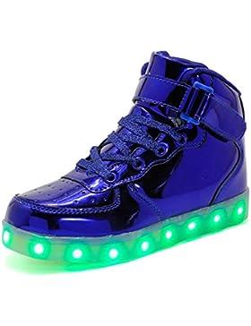 Rojeam Unisexo Adulto Altos LED Shoes Zapatos Deportivos USB Charging Aire Libre Athletics Casual Parejas Zapatos...