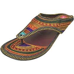 Paso n estilo étnico mujeres zapatos chanclas sandalias zapato de indio hecho a mano soporte de Juti, color multicolor, talla 40