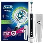 Oral-B PRO 750 CrossAction - Cepillo de dientes eléctrico recargable, pack regalo, color negro