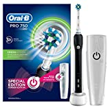 Oral-B PRO 750 CrossAction - Cepillo de dientes eléctrico recargable, pack regalo, color negro