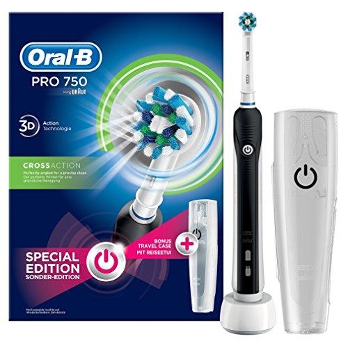 Oral-B PRO 750 Black Elektrische Zahnbürste (wiederaufladbare Zahnbürste in Schwarz, CrossAction Aufsteckbürste, mit Reiseetui, gesunde Zähne, schützt vor Karies und Mundgeruch, powered by Braun)