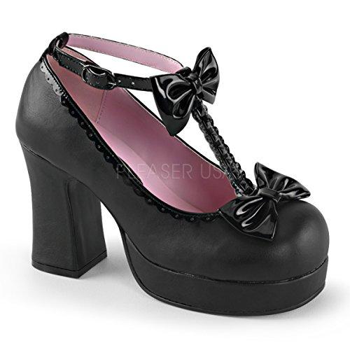Damen Vegan T-Strap Platforms Gothika-04 schw. Gr.36 (Billig Pleaser Schuhe)