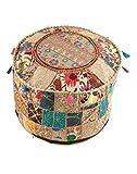 NANDNANDINI–Schöne Handgefertigt Weihnachten Dekorative indischen Vintage osmanischen Pouf, Patchwork osmanischen, Wohnzimmer Patchwork Fuß Hocker Cover, Deko handgefertigt Home Stuhl Abdeckung