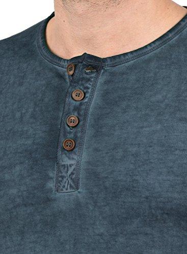SOLID Timur Herren Longsleeve Langarmshirt mit Grandad- Ausschnitt aus 100% Baumwolle Slim Fit Meliert Insignia Blue (1991)