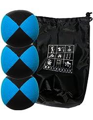 Conjunto de 3 bolas de malabares malabarismos con Flash Pro azul / negro (4 caras) en la bolsa de terciopelo completa