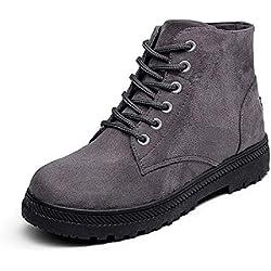 Botines Mujer Invierno Fur Planos Botas Calientes Ante de Nieve Tobillo Altas Cordones Tacon Ancho 2.5cm Casual Zapatos Rojo Gris Azul Negro 35-43 GY36
