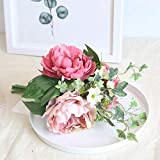 Yazidan Künstliche Seide gefälschte Blumen Pfingstrose Blumen Hochzeit Bouquet Bridal Hydrangea Decor für Haus Garten Pfingstrose Floral Seide Künstliche Blume Brautstrauß Hochzeitsfeier Home Decor\n