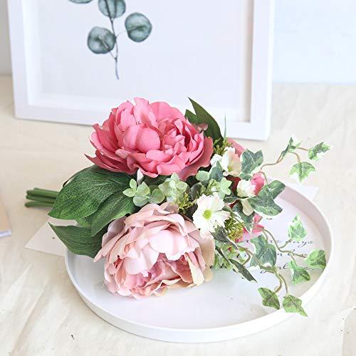 Yazidan Künstliche Seide gefälschte Blumen Pfingstrose Blumen Hochzeit Bouquet Bridal Hydrangea Decor für Haus Garten Pfingstrose Floral Seide Künstliche Blume Brautstrauß Hochzeitsfeier Home Decor\\n
