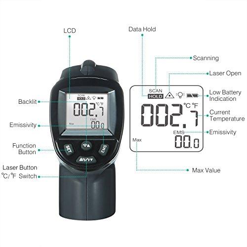 comprare on line SURPEER Infrarot thermometer, Termometro Laser -50 ℃ ~ 550 ℃ (-58 ℉ ~ 1022 ℉) Emissività Regolabile - Sonda di Temperatura Per la Cottura/Aria/Frigorifero/Congelatore - Termometro a Carne Incluso prezzo
