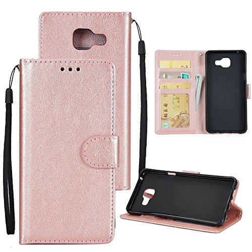 XHD-Phone protection XHD-Telefonschutz für Samsung Mit Lanyard, Card Slot, Magnetic Buckle Öffnen Sie die Phone Shell für Samsung Galaxy A510 Einfach & praktisch (Color : Rosegold) (Slip Schutz Classic Plus)