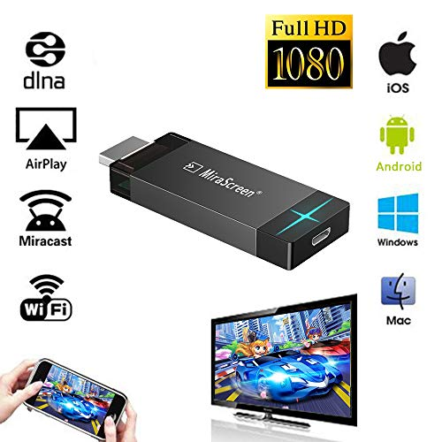 iBosi Cheng WiFi Display Dongle Drahtloser Display Empfänger HDMI Dongle für iOS Android Smartphones Tablets Windows Mac OS Laptops zum HDTV Projektor Monitor (Black) 1080p Home Theater Hdtv