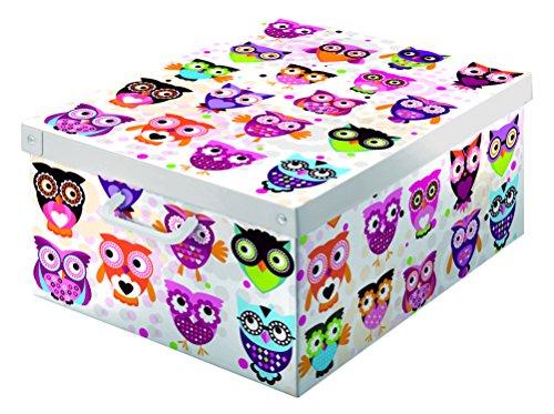Kanguru scatola collection in cartone, portabiancheria, abiti, armadio, fantasia gufetti, misura grande, bianco/viola/fucsia/arancio/nero/verde, 39 x 50 x 24 cm