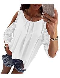 ab3af6b97039 OUFour Damen Stylisches Einfarbig T-Shirt Hohl Hülse Shirts Oberteile  Sommer Freizeit Rundhals Spitze Blouse