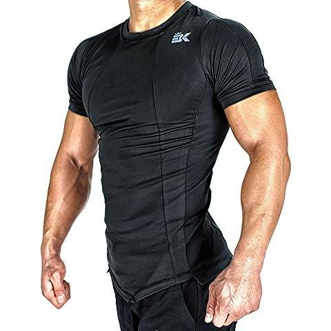 Broki Mens Gym Muscle T Shirts, DRY-FIT Mesh Running Tops Bodybuilding Fitness Short Sleeve Shirt (Black, Medium)