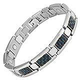 Willis Judd magnetische Herren-Armband aus Titan mit blauen Carbon-Einsätzen in Armband-Box aus schwarzen Samt + kostenlose Gerät für Gliedentfernung