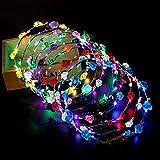 BOI, 8 Fasce per Capelli a Forma di Fiore, ghirlande per Capelli, ghirlande con Luce LED Lampeggiante, per Bambine e Ragazze