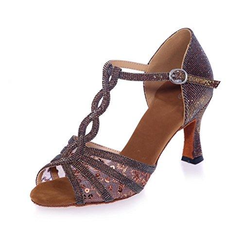 L@YC Donne Latino Scarpe Da Ballo Tacco 7,5 Centimetri Sandali Da Ballo In Raso Può Essere Personalizzato Brown
