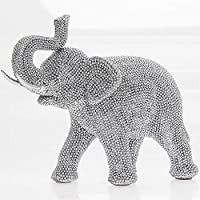 SC Gifts FANTASTIC SILVER SPARKLE STUDDED ELEPHANT STAND FIGURINE STATUE NEW & BOXED 21cm
