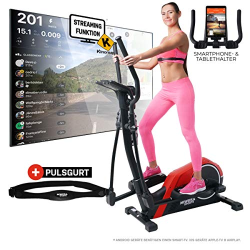 Miweba Sports Crosstrainer MC300 Stepper Ellipsentrainer Heimtrainer - App Steuerung - 21 Kg Schwungmasse - Pulsgurt - Magnetbremse (Rot Schwarz)