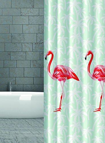 KS Handel 24 Textil DUSCHVORHANG Flamingo Orange Rot Lachs Mint Gruen 240x180 cm 240 Breit X 180 cm Hoch! Shower Curtain INKL. DUSCHRINGE (Duschvorhang Grün Und Orange)