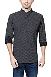 Van Heusen Mens Slim Fit Shirt_ VDSF515E06579_46_ Black