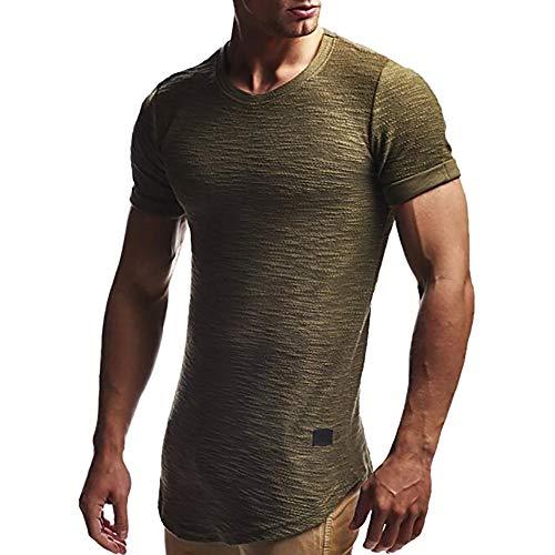 REALIKE Herren Kurzarmshirt Oberteil Classics Tall Tee Lang Geschnittenes T-Shirt Casual Basic O-Ausschnitt Einfarbige Top Männer Bequem Baumwolle Atmungsaktiv Viele Farben Oversize