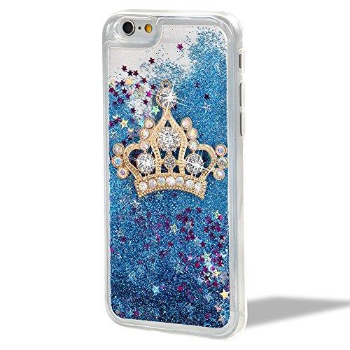 Cover Custodia per iPhone 6/6S,Girlyard [Crown Liquid] 3D Lusso Bling Colorate Corona Flusso Liquido Acqua Sabbie Water Stella Quicksand per Apple iPhone 6S/6 4.7 Brillantini Glitter Protettiva Custo Blu