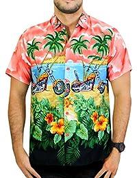 La Leela le bouton de aloha hawaïen hommes manches courtes vers le bas motos occasionnels rouler chemise xs rouge - 5xl