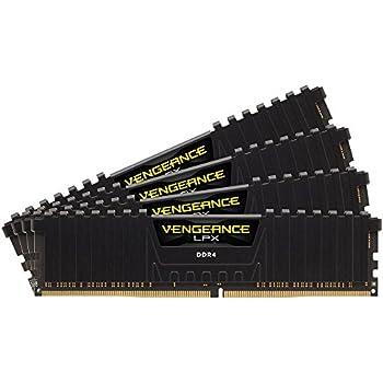 Corsair CMK32GX4M4A2400C14 Vengeance LPX 32GB (4x8GB) DDR4 2400Mhz CL14  Mémoire pour ordinateur de bureau haute performance avec profil XMP 2.0. Noir
