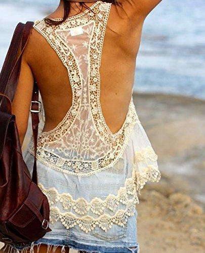 Jastore®Damen Boho Spitze gehäkelt Oberteil kurz Nackt boho Damen  Strandponcho Sommer Kleid Überwurf Kaftan