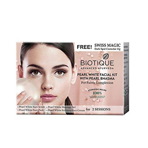 Biotique Bio Pearl White Facial Kit with Pearl Bhasma, 75g