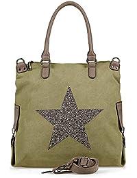 e498234d8cc81 NavyBlu® Damen vintage Schultertasche Canvas Tasche mit Stern Handtasche  Umhängetasche…