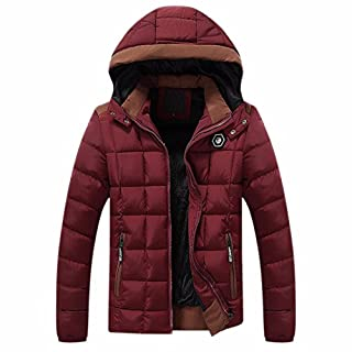Ai.Moichien Men's Down Jacket,Hooided Down Padded Jacket Down Thicken Puffer Coat,Water-Resistant,with Removable Hood